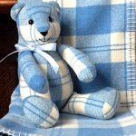 Vintage Welsh blanket bear & baby cuddler/cot blanket